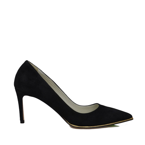 Galena Suede Pump with Metallic Profile, 2.5-Inch - Black Suede