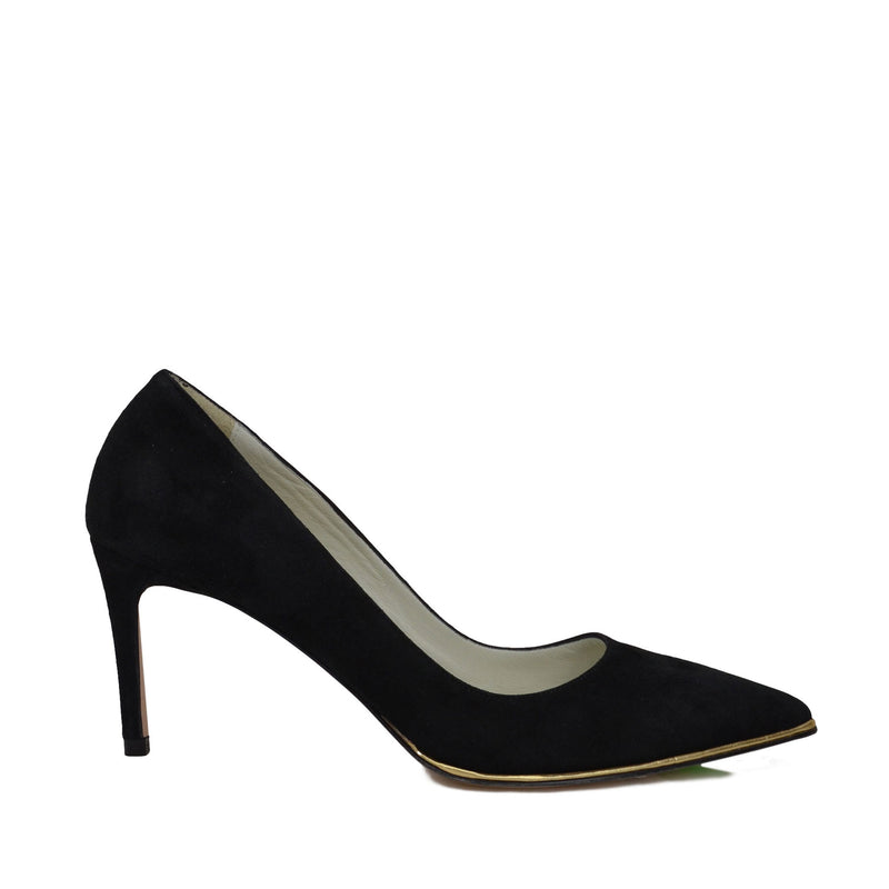Galena Suede Pump with Metallic Profile, 2.5-Inch - Black Suede - FINAL SALE