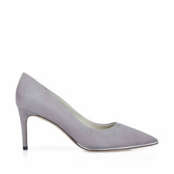 Galena Suede Pump with Metallic Profile, 2.5-Inch - Grey Suede