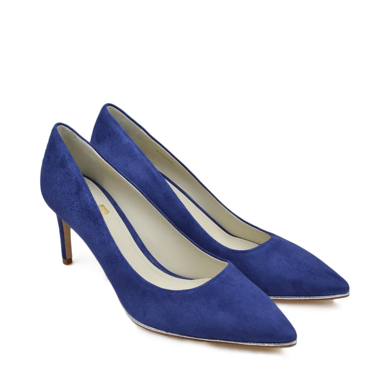Galena Suede Pump with Metallic Profile, 2.5-Inch - Blue