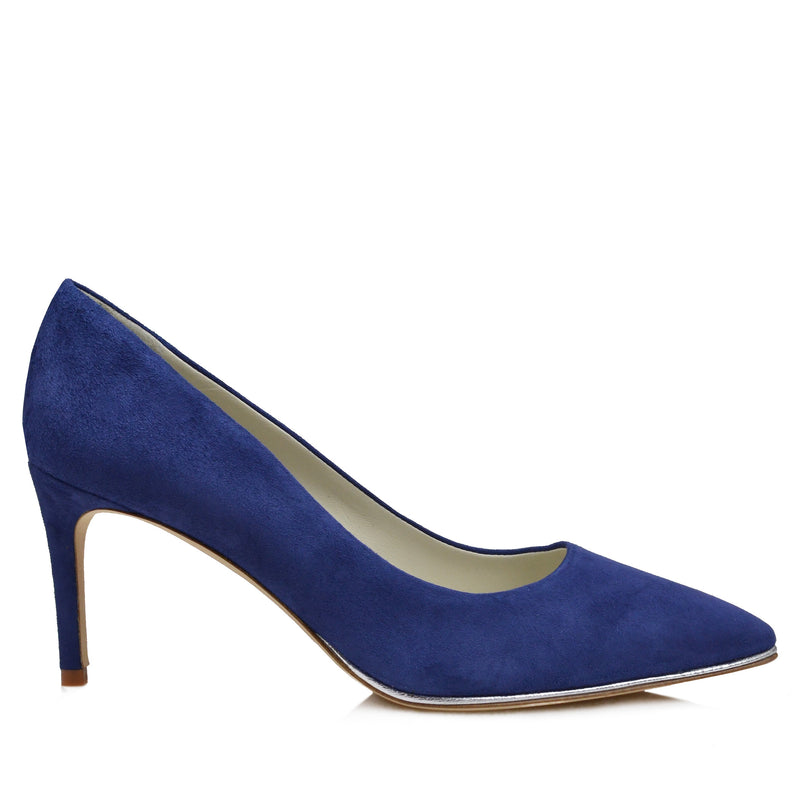 Galena Suede Pump with Metallic Profile, 2.5-Inch - Blue - FINAL SALE