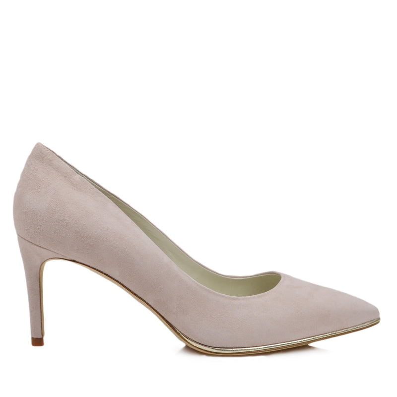 Galena Suede Pump with Metallic Profile, 2.5-Inch - Cream - FINAL SALE
