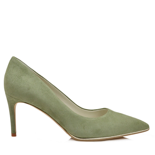 Galena Suede Pump with Metallic Profile, 2.5-Inch - Olive - FINAL SALE