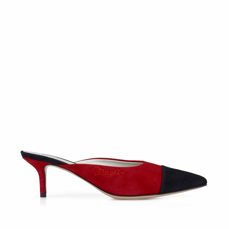 Lia Spectator Heeled Mule, 2-Inch - Black/Red Suede