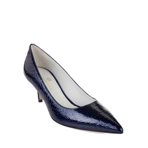 Perla Croc Patent Leather Pump, 2-Inch - Blue Croc-print Leather