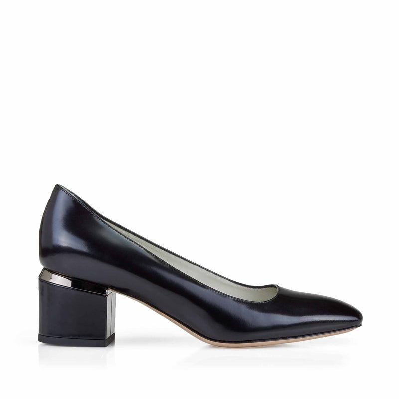 Violet Leather Block Heel Pump, 2-Inch - Black Metal