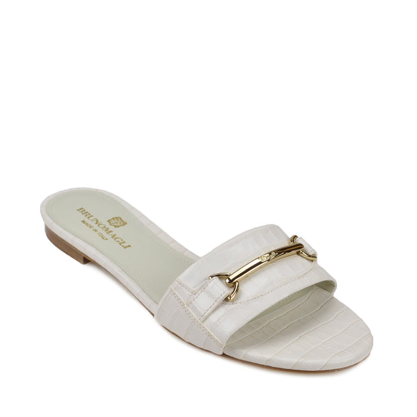 Amos Croc-Print Sandal  - Ivory Croc-Print Leather - Online Exclusive
