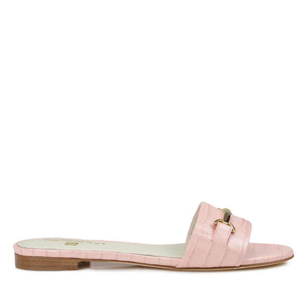 Amos Croc-Print Sandal  - Light Pink Croc-Print Leather - Online Exclusive