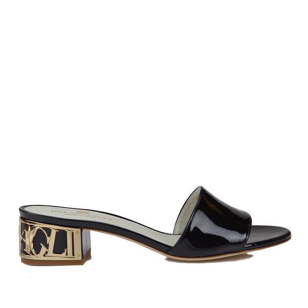 Vittoria Patent Leather Sandal - Black Patent Leather - FINAL SALE