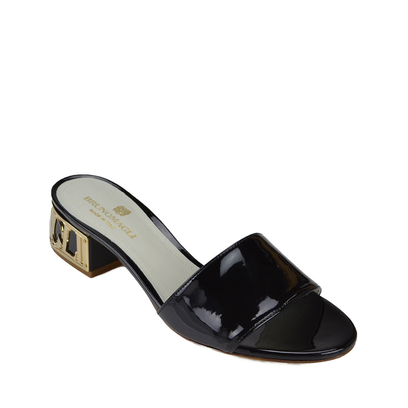 Vittoria Patent Leather Sandal - Black Patent Leather