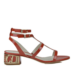 Veronica Patent Leather Sandal - Rust Patent
