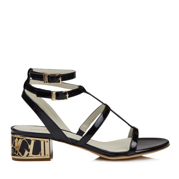 Veronica Patent Leather Sandal - Black