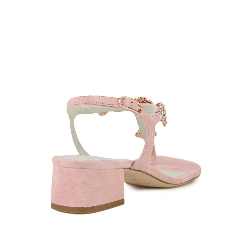 Helena Suede T-Strap - Pink Suede - FINAL SALE