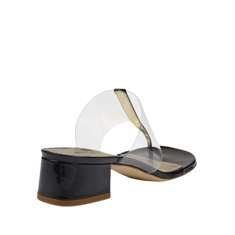 Edda Thong Illusion Strap Sandal - Black