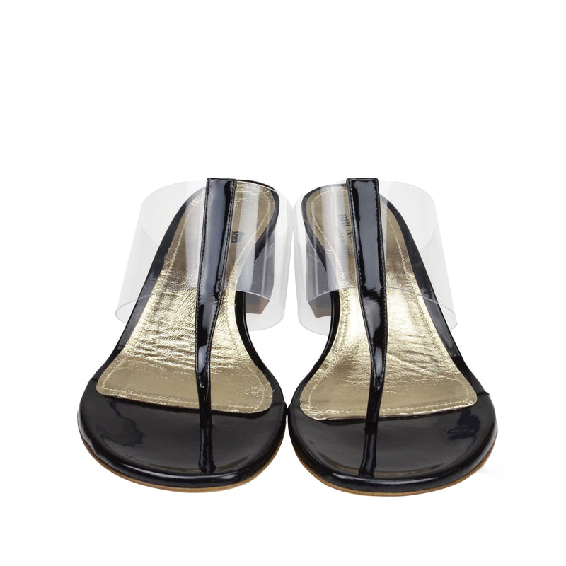 Edda Thong Illusion Strap Sandal - Black - FINAL SALE