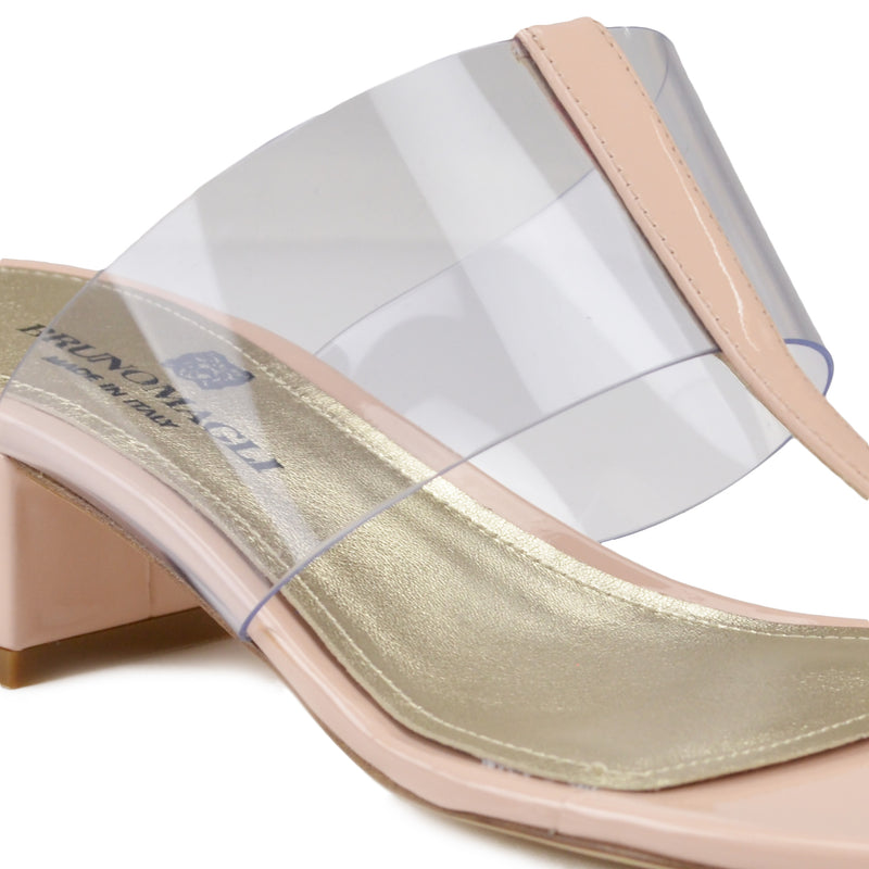 Edda Thong Illusion Strap Sandal - Nude Patent Leather