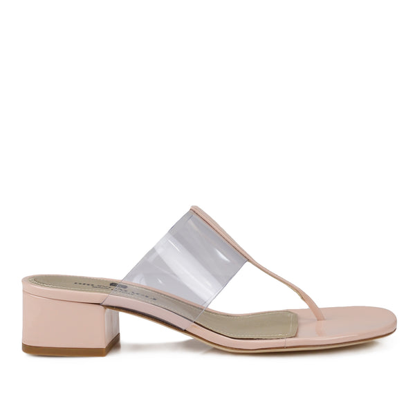 Edda Thong Illusion Strap Sandal - Nude Patent Leather - FINAL SALE