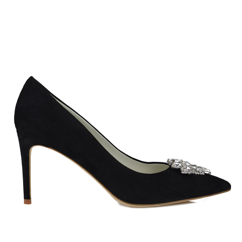 Galaxy Pump with Toe Ornament - Black Suede - FINAL SALE