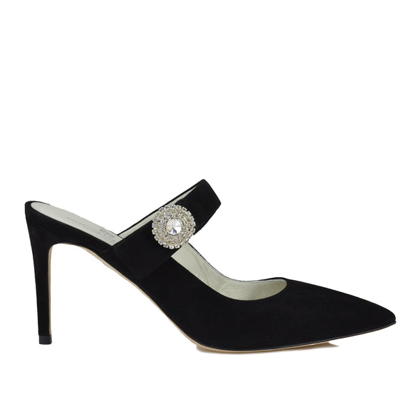 Isotta Suede Heeled Mules - Black Suede - FINAL SALE