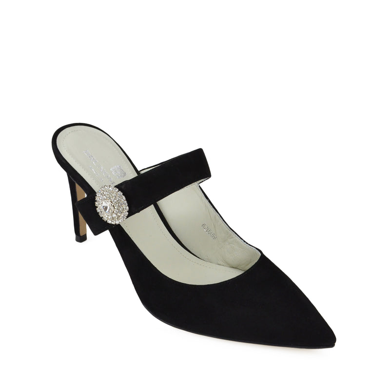Isotta Suede Heeled Mules - Black Suede