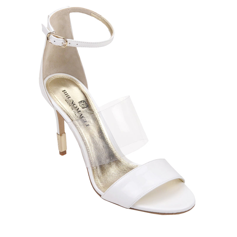 Nathalia Patent Leather Sandal - White