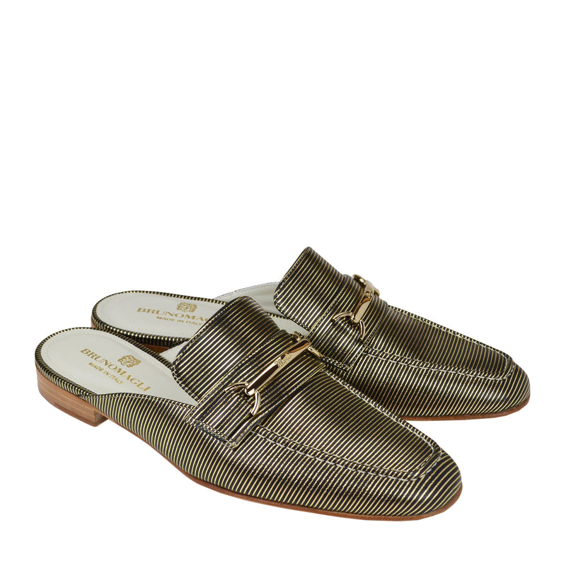 Mark Flat Loafer Mule - Black Stripe - FINAL SALE