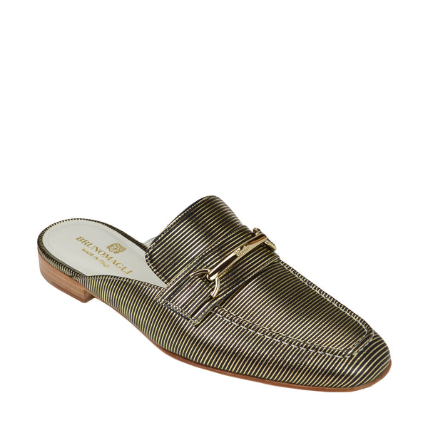 Mark Flat Loafer Mule - Black Stripe