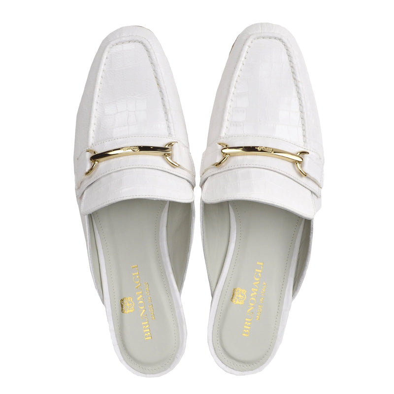 Mark Flat Loafer Mule - Ivory Croc-Print Leather - FINAL SALE