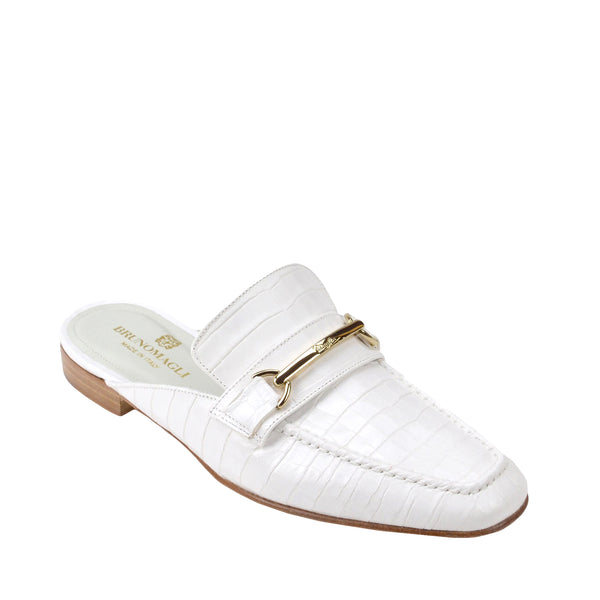 Mark Flat Loafer Mule - Ivory Croc-Print Leather