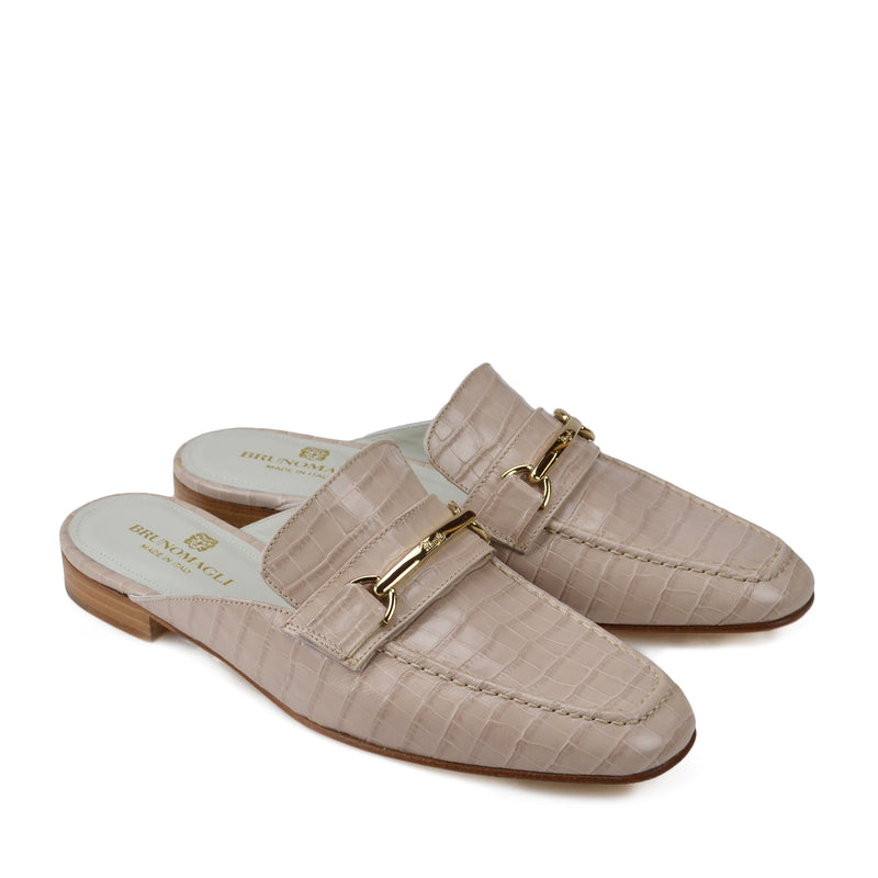 Mark Flat Loafer Mule - Sand Croc-Print Leather