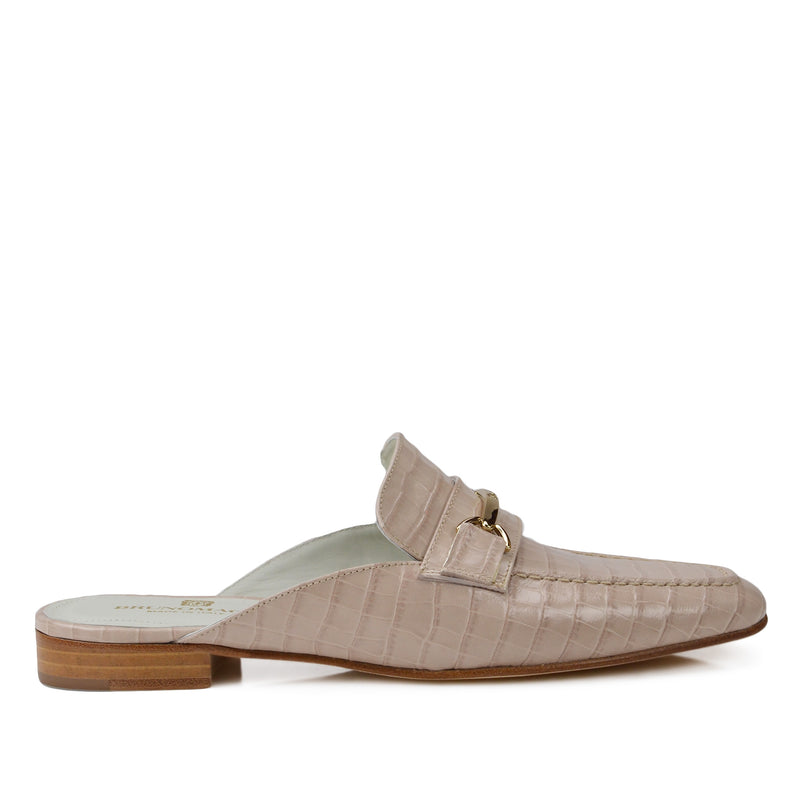 Mark Flat Loafer Mule - Sand Croc-Print Leather - FINAL SALE