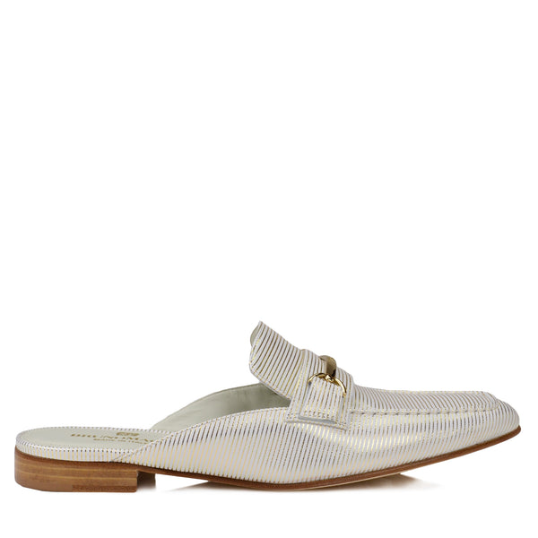 Mark Flat Loafer Mule - White Stripe - FINAL SALE