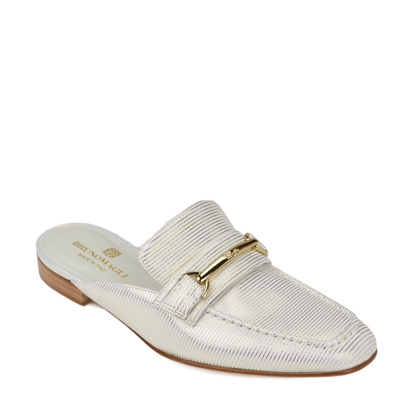 Mark Flat Loafer Mule - White Stripe
