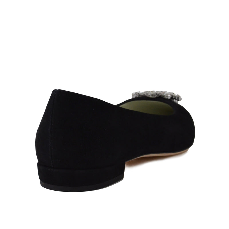Adele Flat with Toe Ornament - Black Suede - FINAL SALE