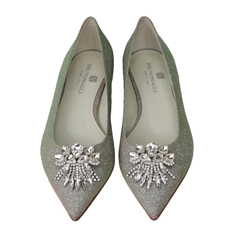 Adele Flat with Toe Ornament - Silver Glitter Fabric