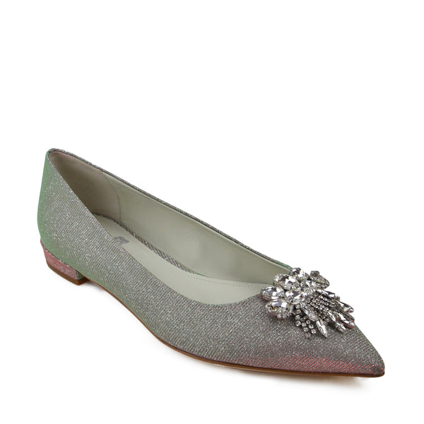 Adele Flat with Toe Ornament - Silver Glitter Fabric - FINAL SALE
