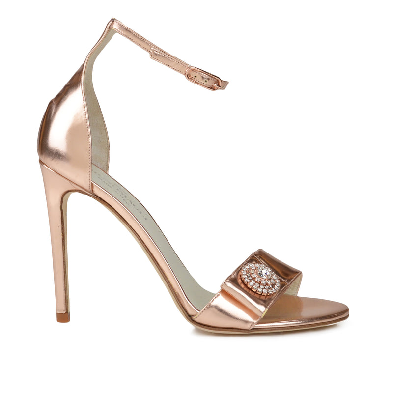 Lucilla Strappy Sandal, 4-Inch  - Rose Gold Mirror - Online Exclusive