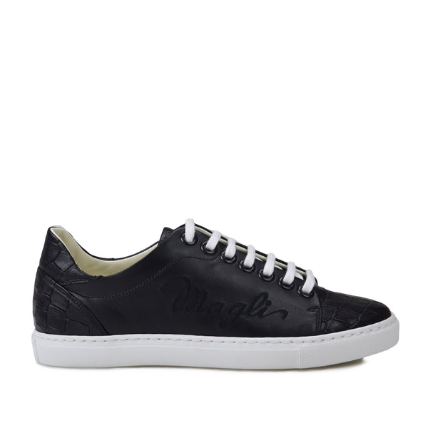 Shelby Croc-Print Leather Embroidered Sneaker - Black