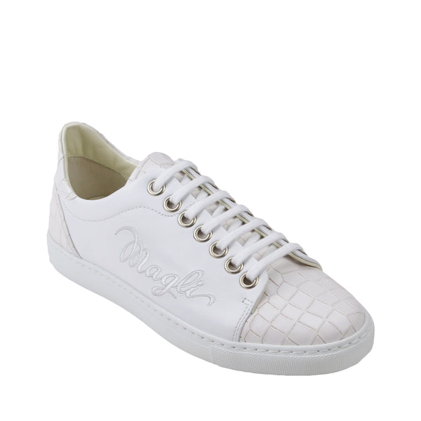 Shelby Croc-Print Leather Embroidered Sneaker - White
