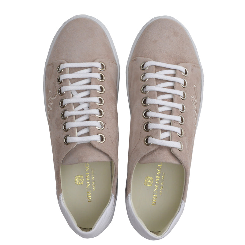 Shelby Suede and Leather Embroidered Sneaker - Beige/White