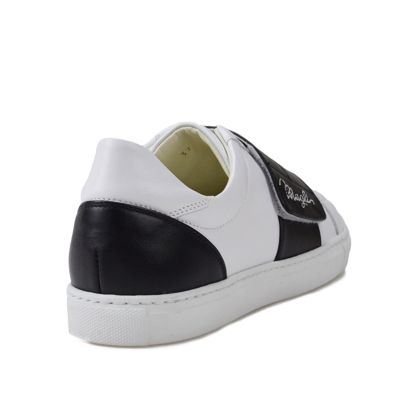Shilah Contrast Strap Embroidered Sneaker - White/Black - FINAL SALE