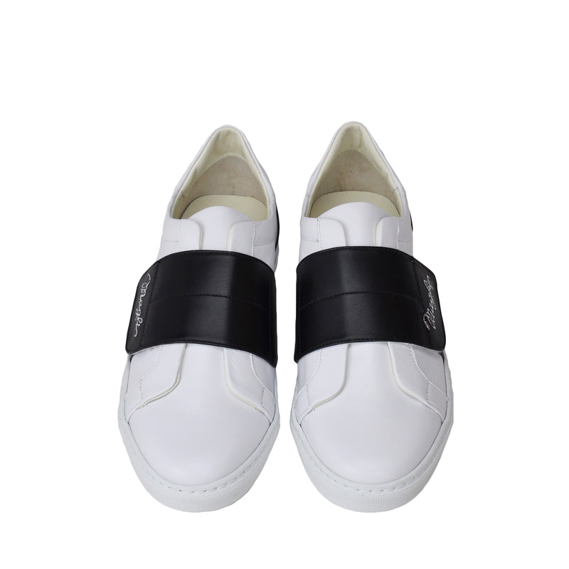 Shilah Contrast Strap Embroidered Sneaker - White/Black