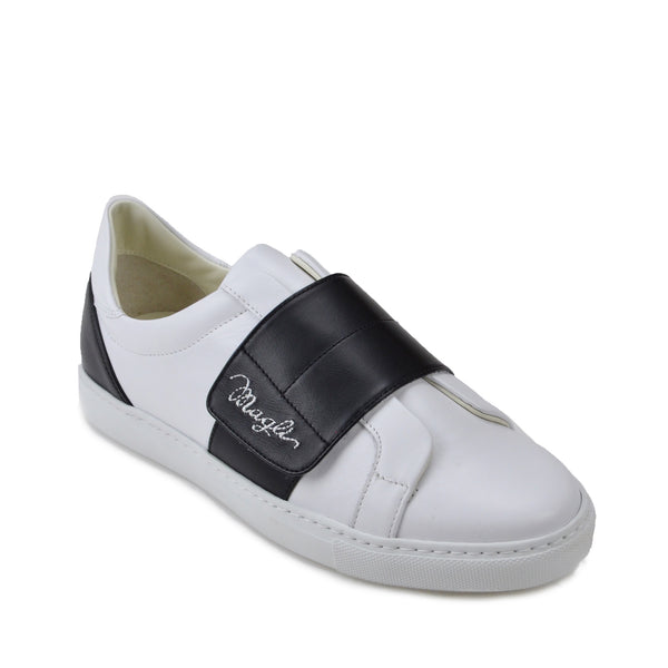 4fe45774a902c Shilah Contrast Strap Embroidered Sneaker - White Black ...