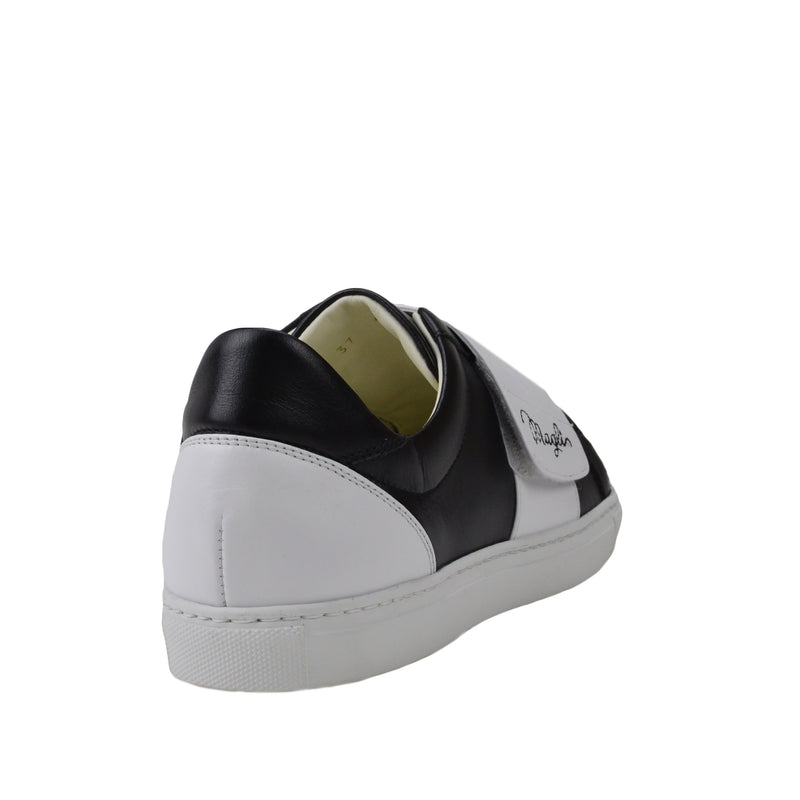 Shilah Contrast Strap Embroidered Sneaker - Black/White