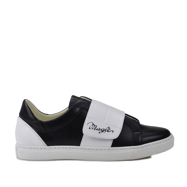 Shilah Contrast Strap Embroidered Sneaker - Black/White - FINAL SALE