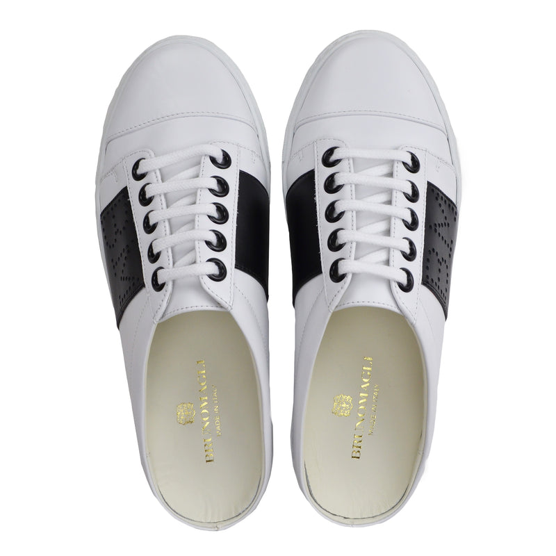Sanny Backless Slip-On Sneakers - White/Black - FINAL SALE