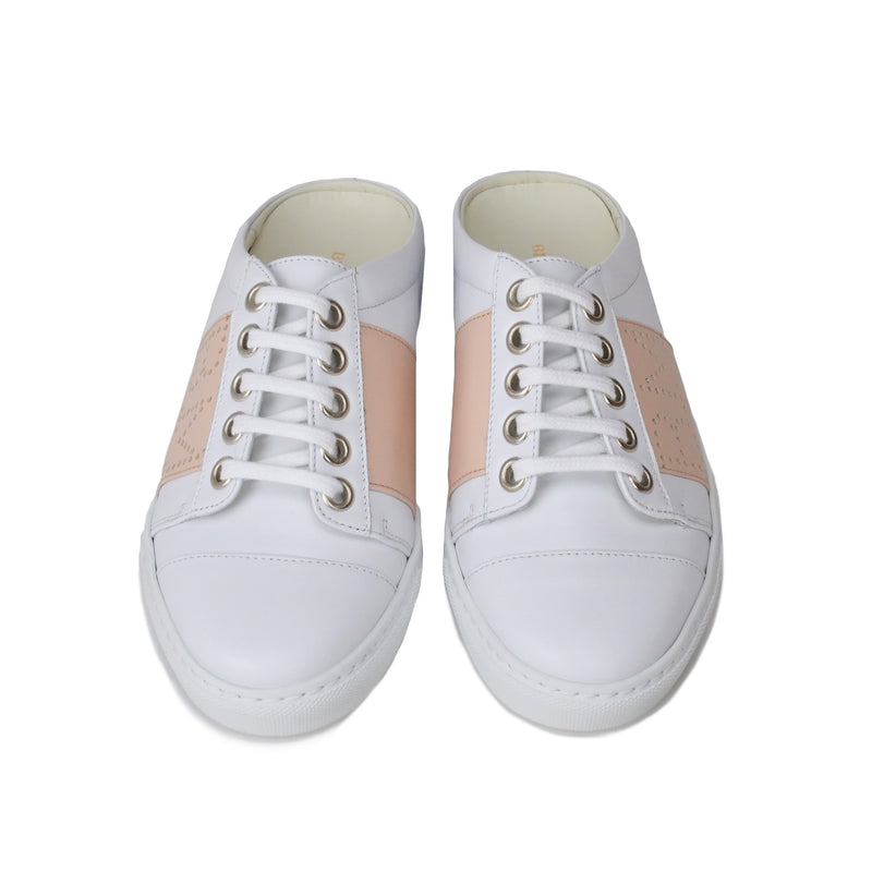 Sanny Backless Slip-On Sneakers - White/Nude - FINAL SALE