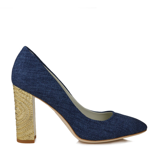 Clara Linen Pump - Navy - FINAL SALE