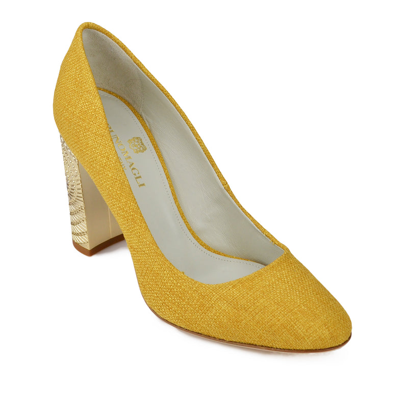 Clara Linen Pump - Yellow