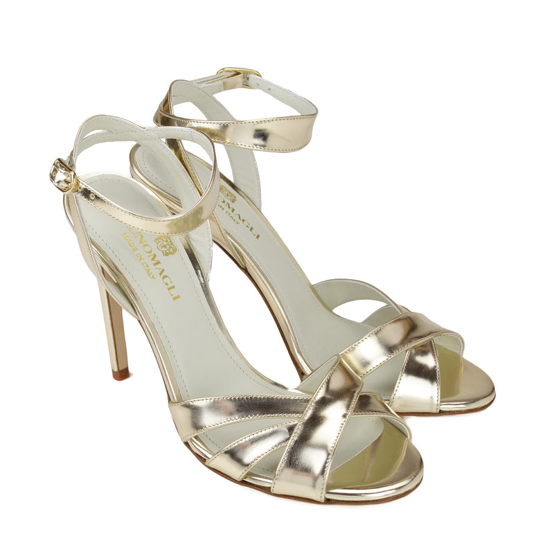 Ginerva Mirror Leather Strappy Sandal - Gold - FINAL SALE